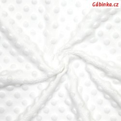 Plyš MINKY - puntíky bílé WHITE, gramáž 300-320 g/m2, šíře 160 cm, 10 cm, 2. jakost