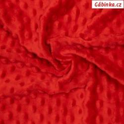 Plyš MINKY - puntíky červená TOMATO, gramáž 300-320 g/m2, šíře 160 cm, 10 cm