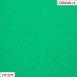Koženka, jasně zelená SOFT LESK 103, šíře 140 cm, 10 cm - 15x15cm