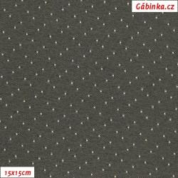 Kočárkovina žakár - Puntíky bílé na šedé, šíře 160 cm, 10 cm - 15x15cm