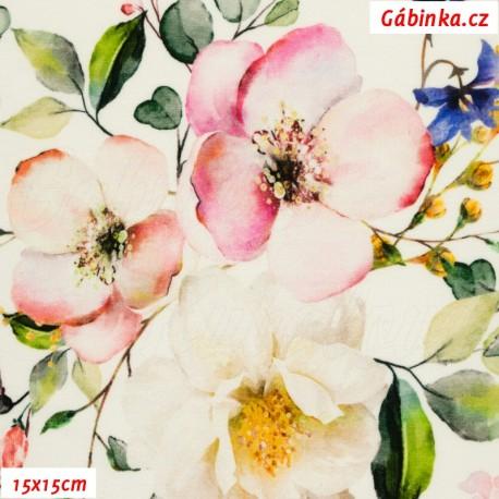 Teplákovina s EL Digitální tisk - Jabloňové květy na smetanové, 15x15 cm