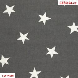 Plátno - Hvězdičky nerovnoměrné 25 mm bílé na tmavě šedé, Atest 1, gr.165, šíře 150 cm, 10 cm