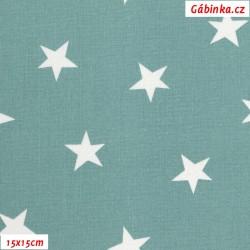 Plátno - Hvězdičky nerovnoměrné 25 mm bílé na světle-šedě zelené, Atest 1, gr.165, šíře 150 cm, 10 cm