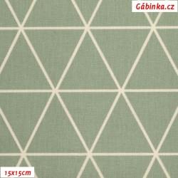 Plátno - Trojúhelníky 8 cm světle-šedo zelené na šedo smetanové, Atest 1, gr.165, šíře 150 cm, 10 cm