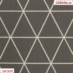 Plátno - Trojúhelníky 8 cm tmavě šedé na šedo smetanové, Atest 1, gr.165, šíře 150 cm, 10 cm