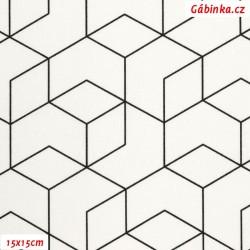 Plátno - Geometrie černá na bílé, Atest 1, gr.165, šíře 150 cm, 10 cm