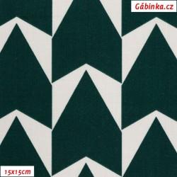 Plátno - MEGA Šipky zelené na bílé, Atest 1, gr.165, šíře 150 cm, 10 cm