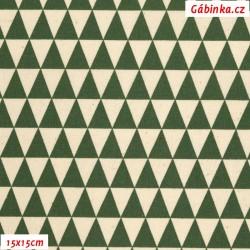 Plátno - Trojúhelníčky 17 mm šedozelené a přírodněbílé, Atest 1, gr.165, šíře 150 cm, 10 cm