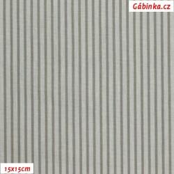 Plátno - Proužky sv. šedé 4 mm a tm. šedé 2 mm, Atest 1, gr.165, šíře 150 cm, 10 cm