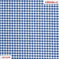 Plátno - Káro modré a bílé, Atest 1, gr.165, šíře 150 cm, 10 cm