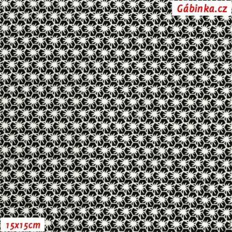 Plátno - Pavoučci bílí na černé, Atest 1, gr.165, šíře 150 cm, 10 cm