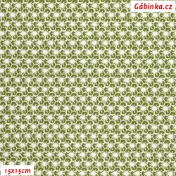 Plátno - Pavoučci bílí na zelené, Atest 1, gr.165, šíře 150 cm, 10 cm