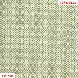 Plátno - Malé puntíčky tm. zelené na bílých hranatých kytičkách se zeleným okrajem, Atest 1, gr.165, šíře 150 cm, 10 cm