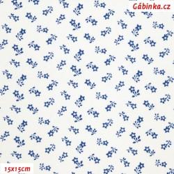 Plátno - Kolekce modrotisk - Rozsypané kytičky-hvězdičky modré na bílé, gr.165, šíře 150 cm, 10 cm, Atest 1