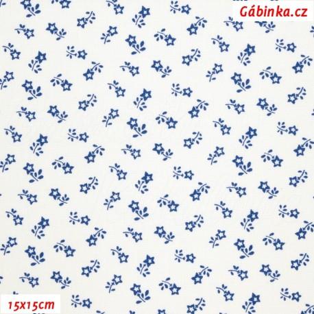 Plátno - Kolekce modrotisk - Rozsypané kytičky na bílé