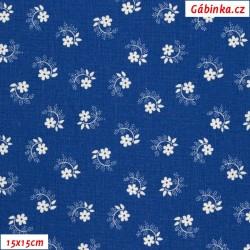 Plátno - Kolekce modrotisk - Kytičky s lístečky a puntíky na spirálce bílé na modré, gr.165, šíře 150 cm, 10 cm