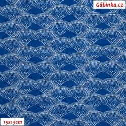 Plátno - Kolekce modrotisk - Vlnky z bílých puntíků na modré, gr.165, šíře 150 cm, 10 cm