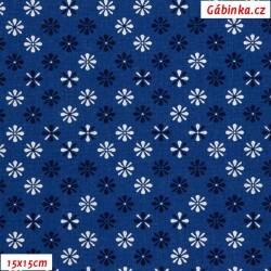Plátno - Kolekce modrotisk - Kytičky temně modré a křídově bílé na tmavě modré, Atest 1, gr.165, šíře 150 cm, 10 cm