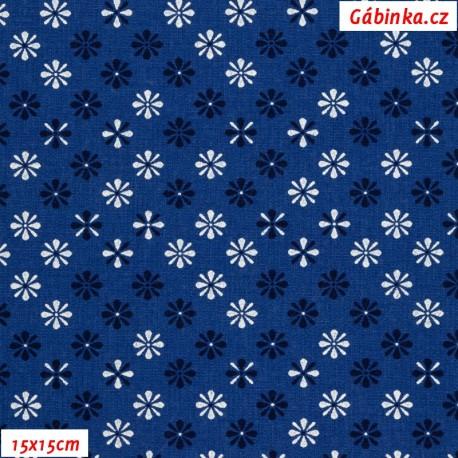 Plátno - Kolekce modrotisk - Kytičky temně modré a křídově bílé na tmavě modré, gr.165, šíře 150 cm, 10 cm