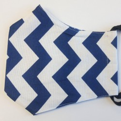 Rouška třívrstvá s kapsičkou - Plátno - Tmavě modrý cik-cak