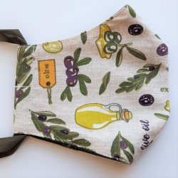 Rouška třívrstvá s kapsičkou - Plátno - Olivy na režném potisku