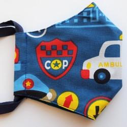 Rouška třívrstvá s kapsičkou - Plátno STOF - Policie a ambulance na tmavě modré