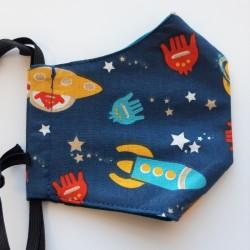Rouška třívrstvá s kapsičkou - Plátno STOF - Vesmír na tmavě modré