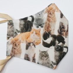 Rouška třívrstvá s kapsičkou - Plátno SOFT - Kočičky na světlé