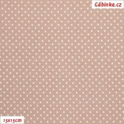Plátno - Puntíky 1,5 mm bílé na tmavě pudrové, gr.165, šíře 150 cm, 10 cm, ATEST 1
