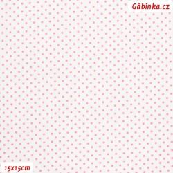 Plátno - Puntíky 1,5 mm růžové na bílé, gr.165, šíře 150 cm, 10 cm, ATEST 1