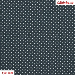 Plátno - Puntíky 1,5 mm bílé na tmavě kovověmodré, gr.165, šíře 150 cm, 10 cm, ATEST 1
