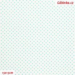 Plátno - Puntíky 1,5 mm mentolové na bílé, gr.165, šíře 150 cm, 10 cm, ATEST 1