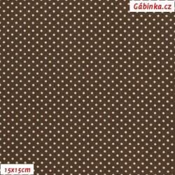 Plátno - Puntíky 1,5 mm bílé na hnědé, gr.165, šíře 150 cm, 10 cm, ATEST 1