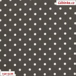 Plátno - Puntíky 4 mm bílé na šedohnědé, gr.165, šíře 150 cm, 10 cm, ATEST 1