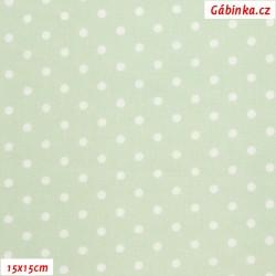 Plátno - Puntíky 4 mm bílé na bledě zelené, gr.165, šíře 150 cm, 10 cm, ATEST 1