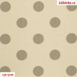 Plátno - Puntíky 20 mm béžové na smetanové, gr.165, šíře 150 cm, 10 cm, ATEST 1
