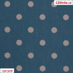 Plátno - Puntíky 12 mm světle fialové na riflově modré, gr.165, šíře 150 cm, 10 cm, ATEST 1