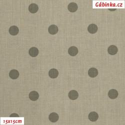 Plátno - Puntíky 12 mm tmavé na šedobéžové, gr.165, šíře 150 cm, 10 cm, ATEST 1