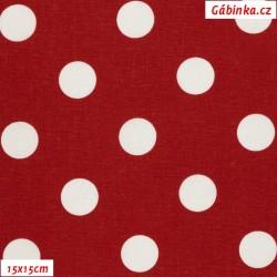 Plátno - Puntíky 20 mm bílé na červené, gr.165, šíře 150 cm, 10 cm, ATEST 1