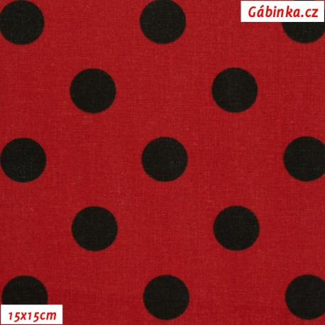 Plátno - Puntíky 20 mm černé na červené, gr.165, šíře 150 cm, 10 cm, ATEST 1