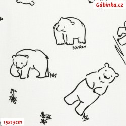 Plátno - Medvědi k vybarvení na bílé, Atest 1, 15x15 cm
