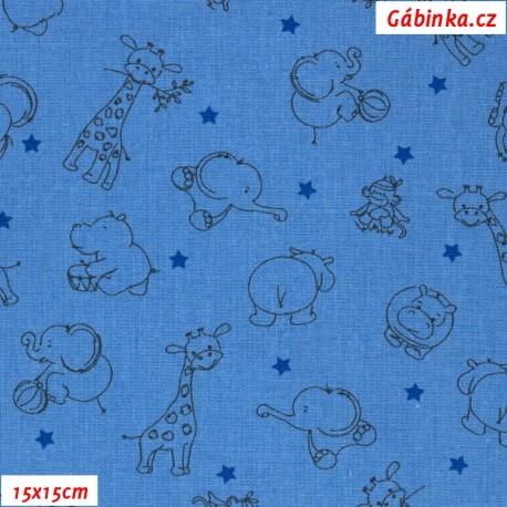 Plátno - Obrysy zvířátek slon hroch žirafa opička černé na modré, gr.165, šíře 150 cm, 10 cm, ATEST 1