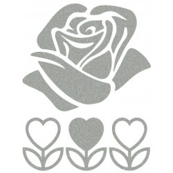 Reflexní nažehlovací potisk - Růže (1+3 ks)