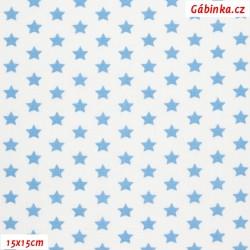 Plátno - Hvězdičky 10 mm světle modré na bílé, šíře 150 cm, 10 cm