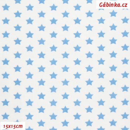 Látka, plátno - Hvězdičky 10 mm světle modré na bílé, 15x15 cm