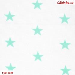 Plátno - Hvězdy mentolové na bílé, 2. jakost, šíře 160 cm, 10 cm