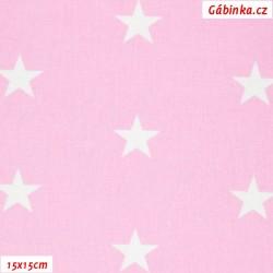 Plátno - Hvězdy 25 mm bílé na světle růžové, 15x15x cm