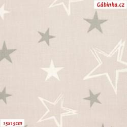 Plátno - Hvězdy šedé a bílé obrysy hvězd na béžové, šíře 140 cm, 10 cm