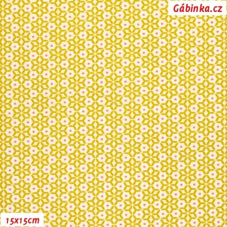 Plátno - Kaleidoskop s puntíky hořčicový, Atest 1, 15x15 cm