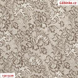 Plátno - Hnědé květiny na hnědé mřížce, 15x15 cm